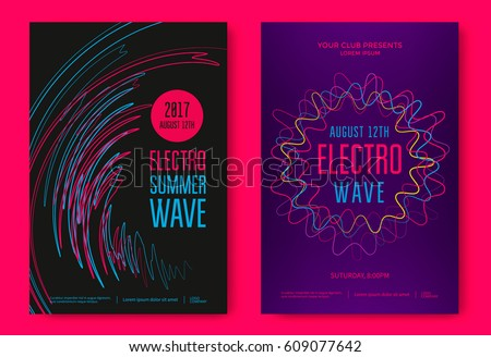 Electro summer wave music poster. Abstract colored waves music background.