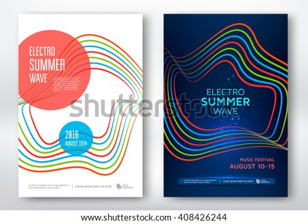 Electro summer wave music poster. Club party flyer. Abstract colored waves background.
