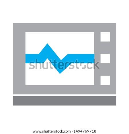 electrocardiogram monitor  icon. flat illustration of electrocardiogram monitor  - vector icon. electrocardiogram monitor  sign symbol