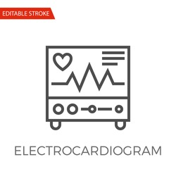 Electrocardiogram Thin Line Vector Icon. Flat Icon Isolated on the White Background. Editable Stroke EPS file. Vector illustration.