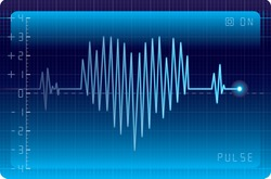 Electrocardiogram with heart shape. Eps8. CMYK. Organized by layers. Easy recolor. Two global colors. Gradients used.