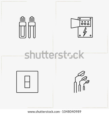 electrocity line icon set with
