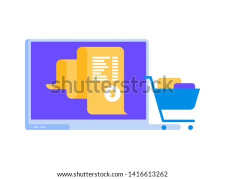 Electron bill, billing system online payment, finance report concept, laptop vector flat icon illustration