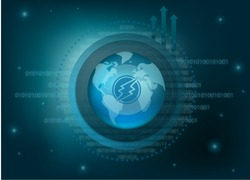 Electroneum Cryptocurrency Coin Global Binary Background