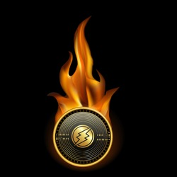 Electroneum Cryptocurrency Coin On Fire Background