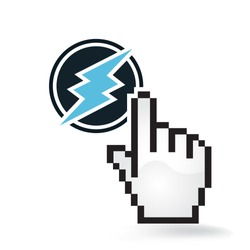 Electroneum Cryptocurrency Coin Sign Hand Cursor Click Isolated
