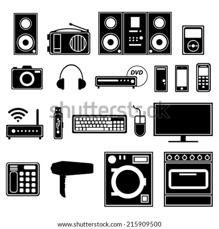 Electronic and electric appliances and devices. Black icons.