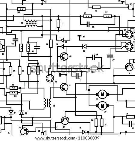 Electronic black and white diagram - technical schematic seamless vector texture