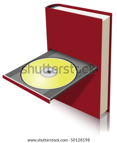 Electronic book concept as a combination of paper book and disk drive (vector)