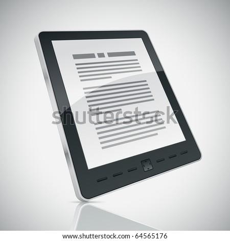 Electronic book (e-book) reader. 3d vector illustration.