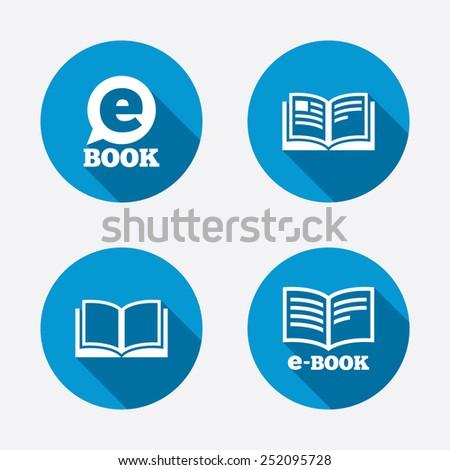 Electronic book icons. E-Book symbols. Speech bubble sign. Circle concept web buttons. Vector