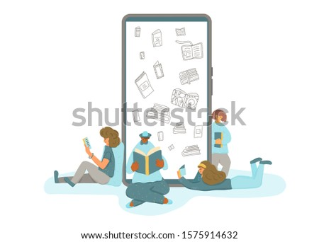 Electronic books concept. Group of human characters sitting with their textbooks near huge phone. Tiny male and female students preparing to exam together. Vector flat cartoon illustration.
