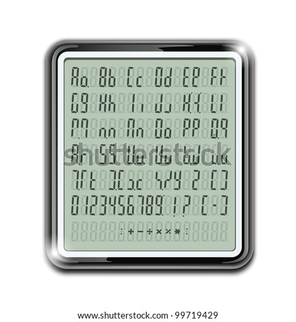 electronic calculator font vector illustration EPS10. Transparent objects and opacity masks used for shadows and lights drawing