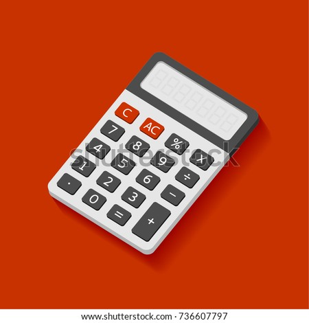 Electronic calculator in flat style. Digital keypad math isolated device vector icon.