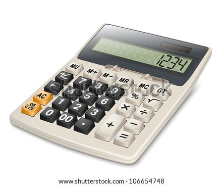 Electronic calculator isolated on white background. EPS10 vector. Without gradient mesh