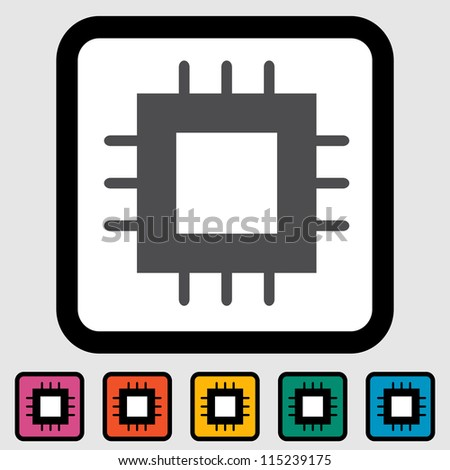 Electronic chip icon. Vector illustration.
