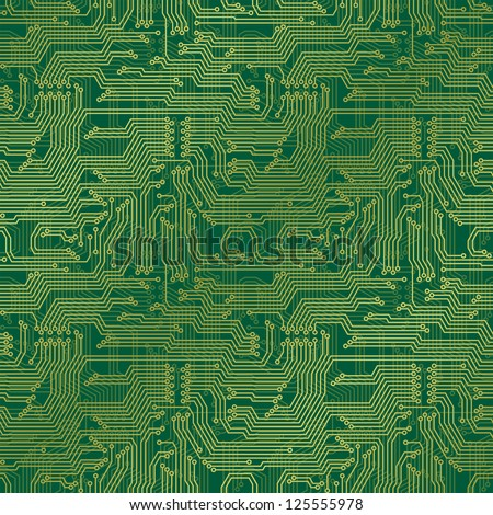 Electronic circuit board. Tileable seamless repeating vector background. Continuous pattern left, right, up and down