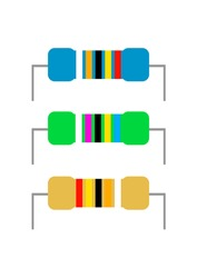 Electronic component resistor marked with colored stripes. Electronic technology. Electronics repair. Repair of household appliances. Place for text. Poster. Vector background image.