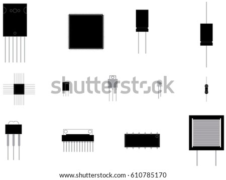 Electronic components icons/ simple set of electronic components related vector icons for your design
