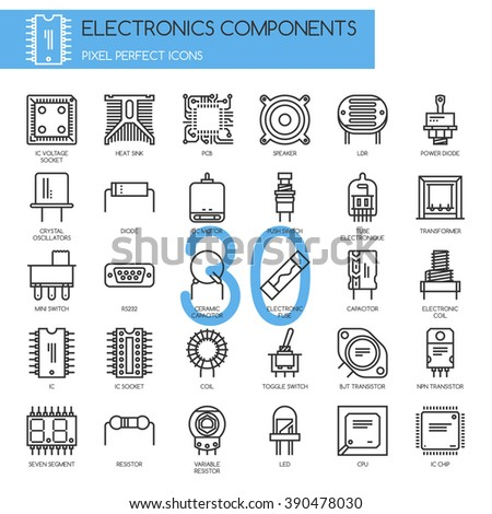 Electronic components , Thin Line and Pixel Perfect Icons