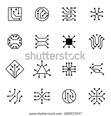 Electronic computer chip circuit and motherboard equipment vector icons. Electronic motherboard circuit illustration of equipment board microchip