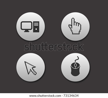 Electronic computer icon set. Internet Button vector illustration.