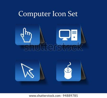Electronic computer icon set. Internet Button vector illustration.