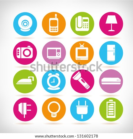 electronic device icon set, app buttons - stock vector