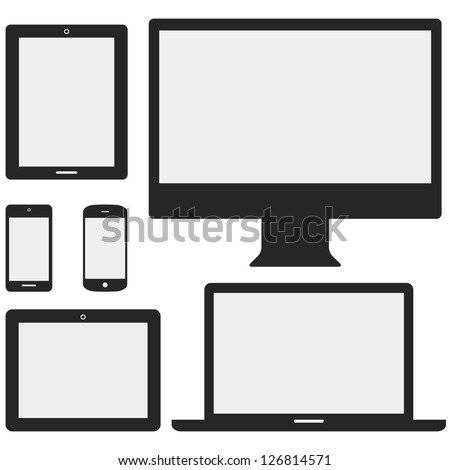 Electronic Device Icons - Set of electronic device icons isolated on white background.  Devices include desktop computer, laptop, tablet and mobile phones.