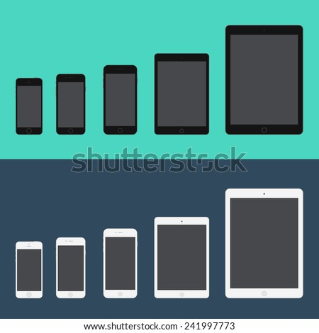 Electronic device phone and tablet (Iphone 5S, Iphone 6, Iphone 6 plus, Ipad mini, Ipad air) trendy flat icons. Vector illustration.