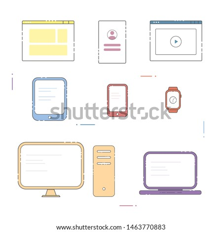 Electronic devices: desktop computer, laptop, tablet, smartphone. Device icons and screens on a white background.