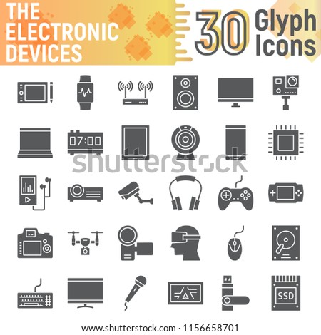 Electronic devices glyph icon set, media symbols collection, vector sketches, logo illustrations, digital signs solid pictograms package isolated on white background, eps 10.