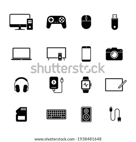 Electronic Devices icons, Set of gadget symbol, Simple flat design for application, UI, websites and decoration, Vector illustration