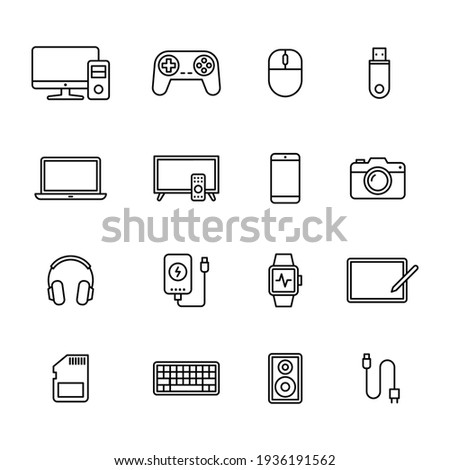 Electronic Devices icons, Set of gadget symbol, Simple line design for application, UI, websites and decoration, Vector illustration