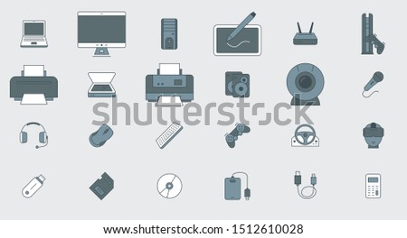 Electronic devices Icons - Vector color symbols of technique and computer for the site or interface