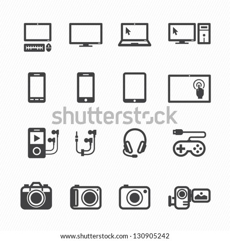 electronic devices icons with