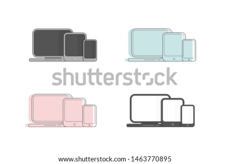 Electronic devices: laptop, tablet, smartphone. Device icons on a white background.
