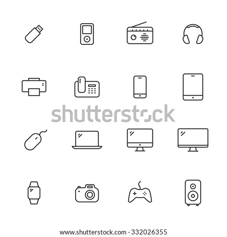 Electronic devices thin line icons