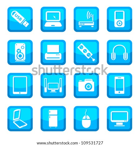 Electronic devices vector icon set for web and mobile. All elements are grouped.