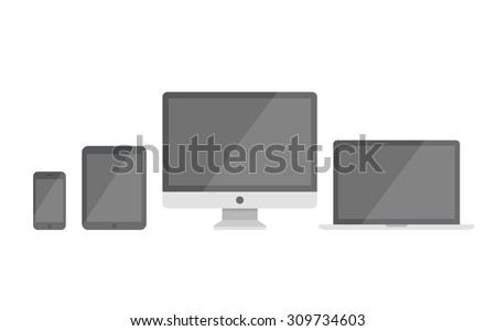 Electronic devices with blank screens isolated on white background