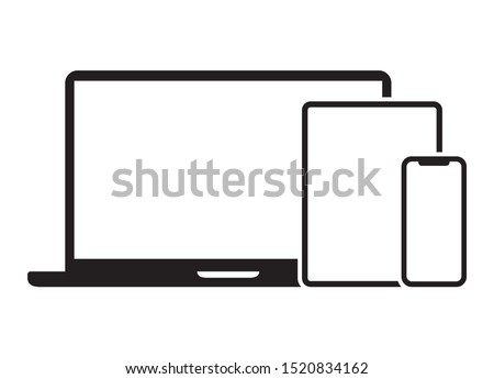 Electronic devices with laptop, tablet and mobile phone flat vector icon for apps and websites