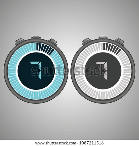 Electronic Digital Stopwatch. Timer 7 seconds isolated on gray background. Stopwatch icon set. Timer icon. Time check. Seconds timer, seconds counter. Timing device. Two options. EPS 10 vector.