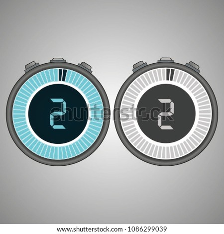 Electronic Digital Stopwatch. Timer 2 seconds isolated on gray background.Stopwatch icon set. Timer icon. Time check. Seconds timer, seconds counter. Timing device.  Two options. EPS 10 vector.