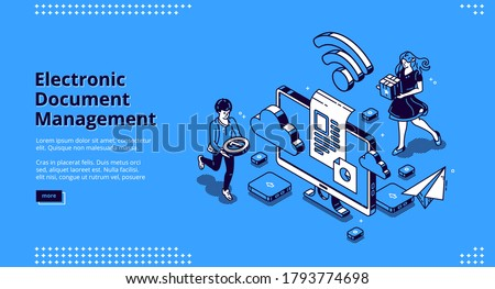 Electronic document management banner. Online paperwork storage, digital system of paper organization. Vector landing page of manage business documents with isometric people and computer screen