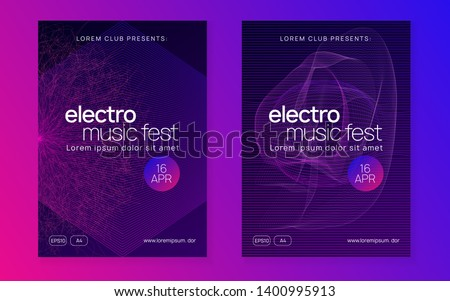 Electronic event. Modern show banner set. Dynamic fluid shape and line. Neon electronic event. Electro dance dj. Trance sound. Club fest poster. Techno music party flyer.