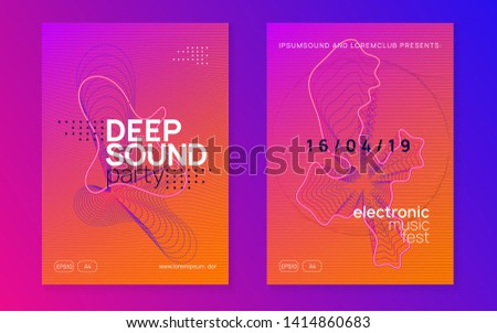 Electronic fest. Curvy show magazine set. Dynamic gradient shape and line. Neon electronic fest flyer. Electro dance music. Trance sound. Club event poster. Techno dj party.