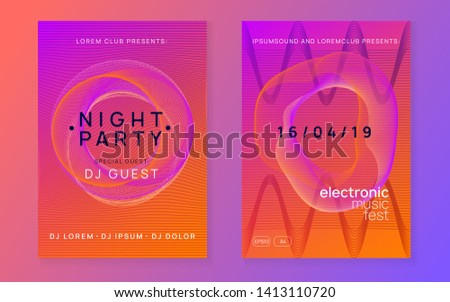 Electronic fest. Dynamic gradient shape and line. Creative concert magazine set. Neon electronic fest flyer. Electro dance music. Trance sound. Club event poster. Techno dj party.