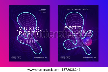 Electronic fest. Dynamic gradient shape and line. Creative show invitation set. Neon electronic fest flyer. Electro dance music. Trance sound. Club event poster. Techno dj party.