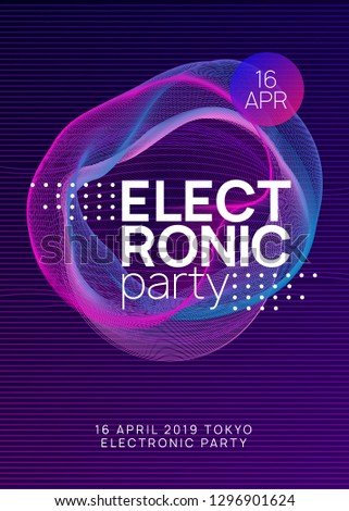 Electronic fest. Geometric show cover template. Dynamic gradient shape and line. Neon electronic fest flyer. Electro dance music. Trance sound. Club event poster. Techno dj party.