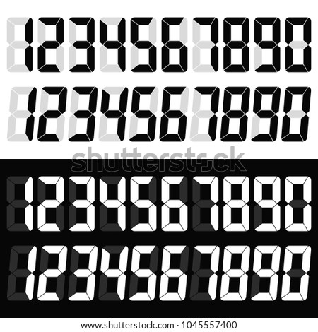 Electronic figures. Digital glowing numbers. LCD numbers for a electronic devices. Vector illustration.